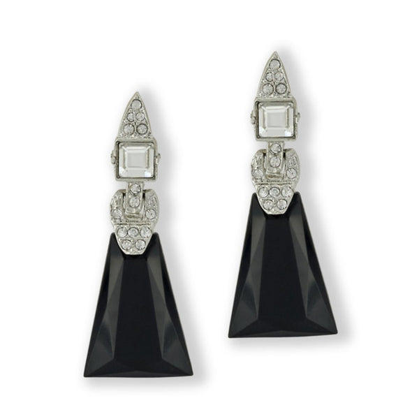 KENNETH JAY LANE Art Deco Clip-on Earrings, Black
