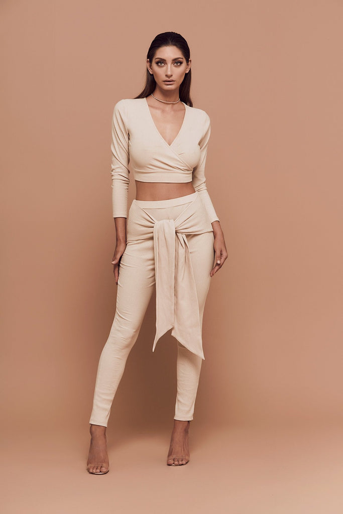 BOSSA Vibes Wrap High Waisted Leggings in bone front