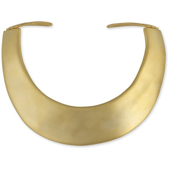 KENNETH JAY LANE Satin gold hinged necklace