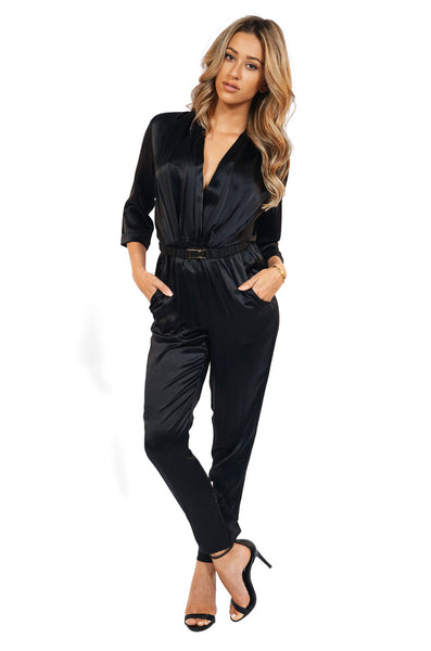 Amanda Uprichard 3/4 Sleeve Silk Jumpsuit in Black front
