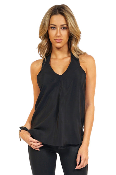 Amanda Uprichard Valencia Halter Top in Black front