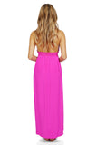 Amanda Uprichard Mercer Halter Maxi Dress in Hot Pink back