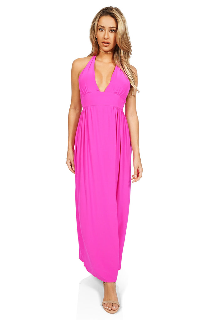Amanda Uprichard Mercer Halter Maxi Dress in Hot Pink front