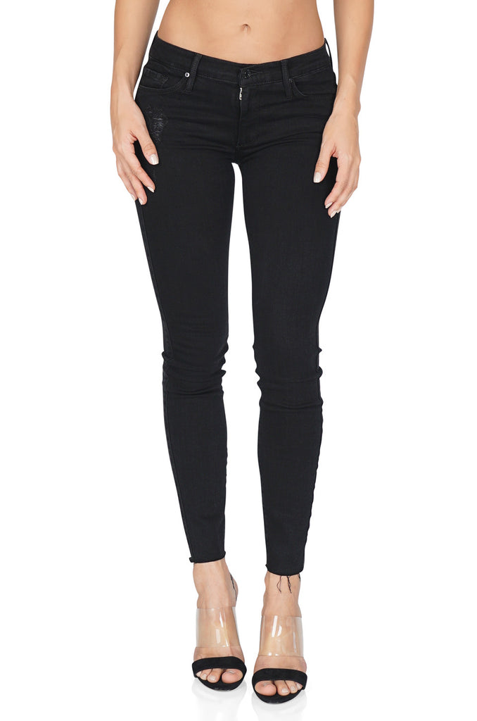 BLACK ORCHID Noah Ankle Fray Skinny Jeans, Pitch Black front