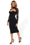 Misha Carolena Midi Cocktail Dresses with Lace Longsleeves in Black side