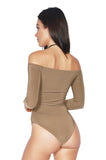 ROG Celia Off Shoulder Bodysuit in Mocha - Long Sleeve Bodysuit back