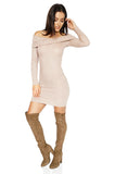 ROG Demie Mini Ribbed  Off The Shoulder Dress Cream