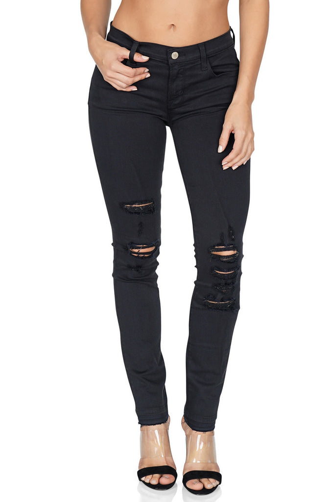 J BRAND 811 Mid Rise Skinny Distressed Jeans front
