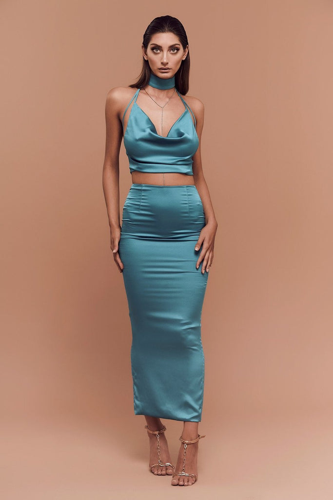 BOSSA Shanina Satin Long Pencil Skirt front