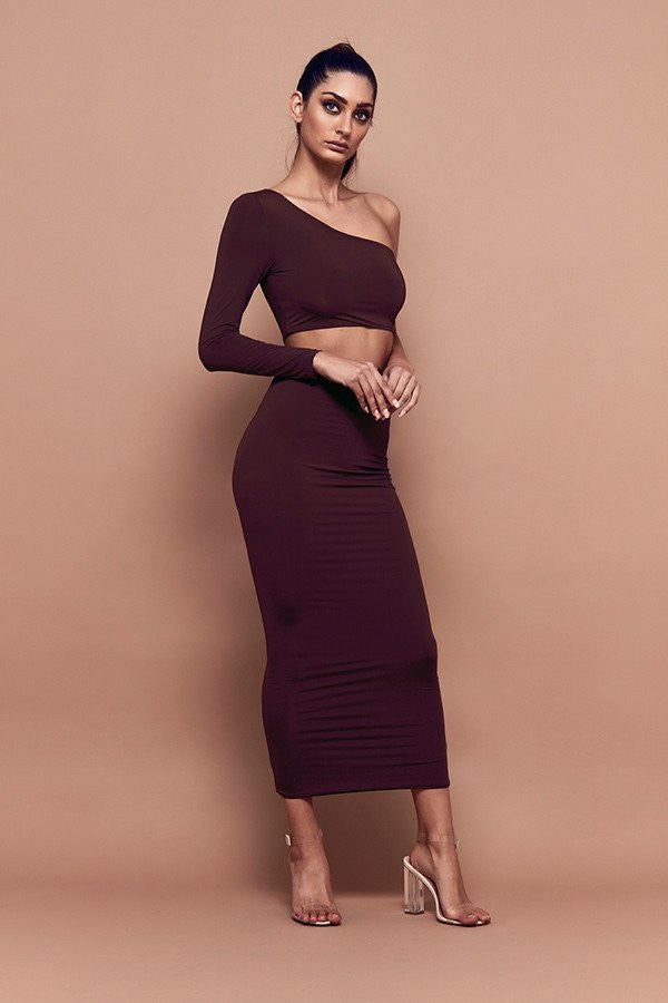 Bossa Silhouette long Maxi Skirt in Chocolate front