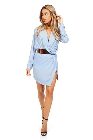 ROG Clarise draped belted wrap dress