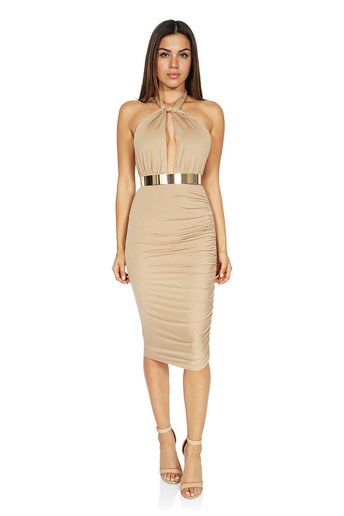 ROG Rochelle  Midi BodyCon Halter Backless Dresses front