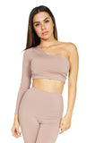 Bossa Crescent One Shoulder Long Sleeve Crop Top, Slate