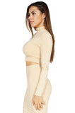 Bossa Contour High-Neck Long Sleeve Crop Top, Nude