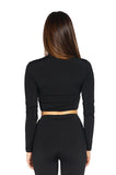 Bossa Contour High-Neck Long Sleeve Crop Top, Black