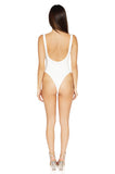 Bossa Slay Low Back Bodysuit in White back