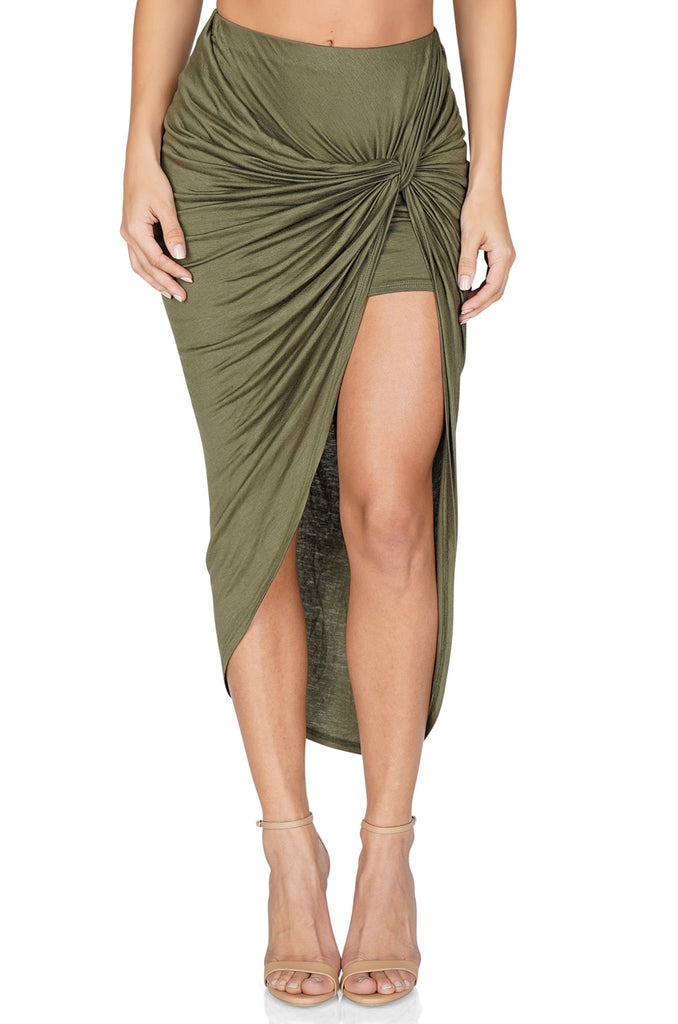ROG Lily Asymmetrical Knot Skirt, Olive front