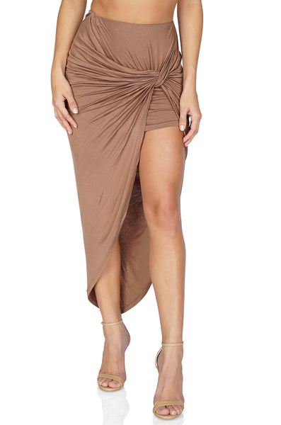 ROG Lily Asymmetrical Knot Skirt, Mocha front