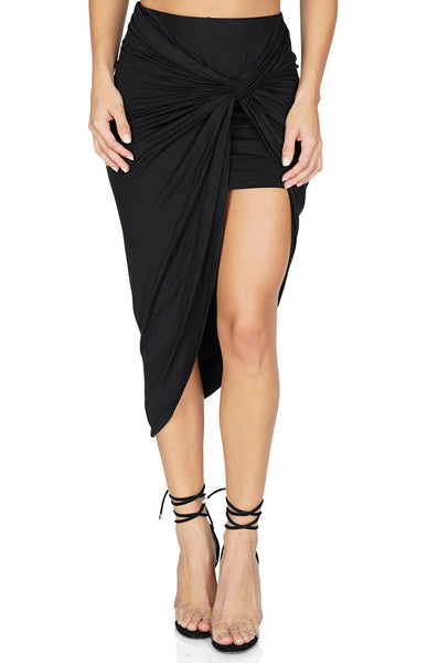 ROG Lily Asymmetrical Knot Skirt, Black front