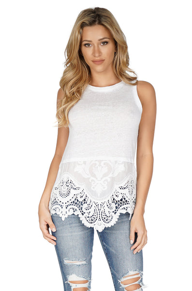 GENERATION LOVE Nancy Sleeveless Embroidered Hem White Tank front