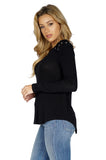 Generation Love Pauline Long Sleeve Lace Up Sweater in Black side