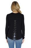 Generation Love Pauline Long Sleeve Lace Up Sweater in Black back