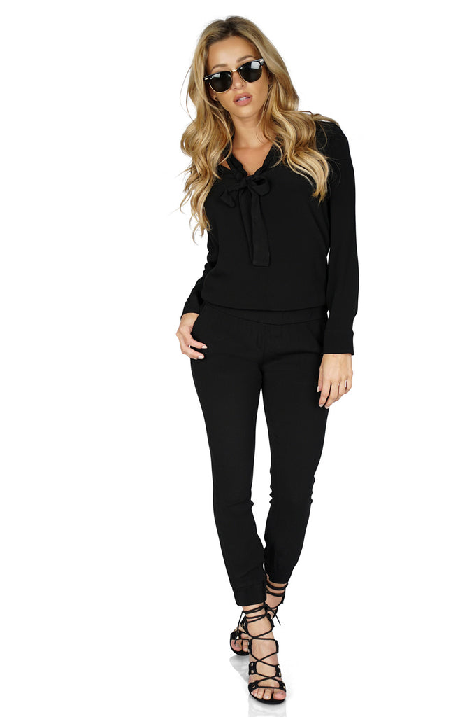 MONROW Tie Front Long sleeve Jumpsuit full