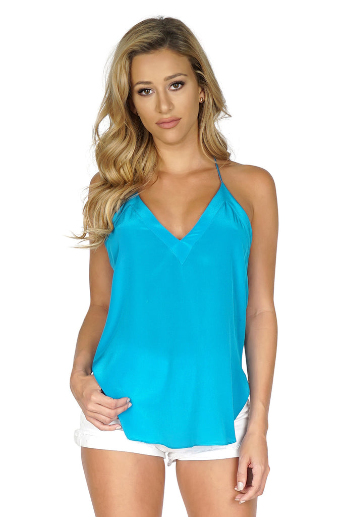 Rory Beca Lyda V-neck Racerback Silk Tank Top in Blue front