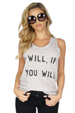 Zoe Karssen Women's I Will If You Will Racerback Tank Top in Grey front