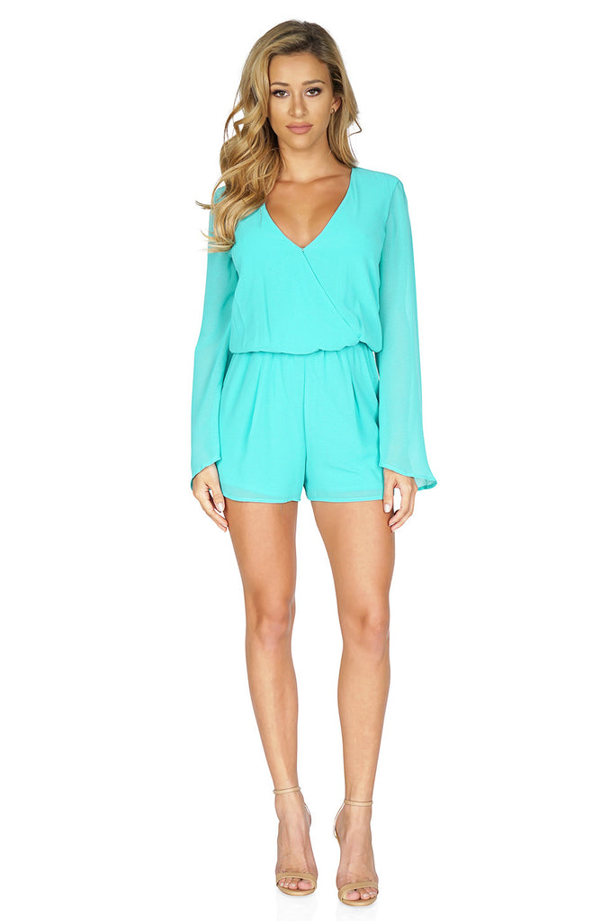 Rory Beca Women's Yolande Long Rleeve Romper in Green front