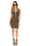 ROG Aubrey Zip Up Tank Dress, Olive front