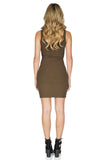 ROG Aubrey Zip Up Tank Dress, Olive back