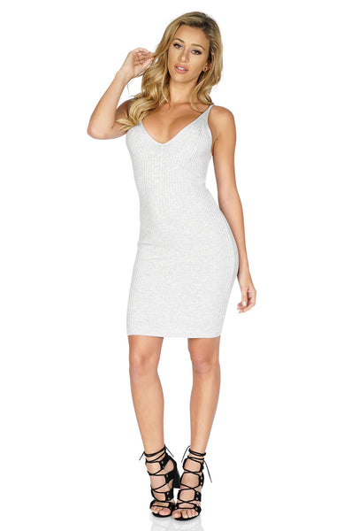 ROG Jemma Knit Ribbed Mini Bodycon Dress, Grey front