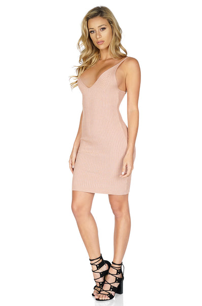 ROG Jemma Knit Bodycon Ribbed Mini Dress, Pink