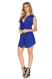 Amanda Uprichard Women's Logan Sleeveless Silk Shirt Dress in Navy side