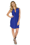 Amanda Uprichard Women's Logan Sleeveless Silk Shirt Dress in Navy