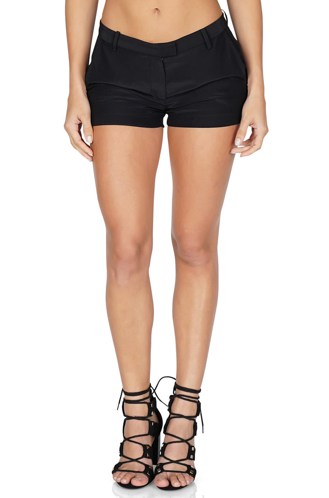 Amanda Uprichard Women's Queen Silk Shorts in Black front