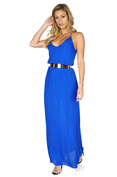 Rory Beca Women's Ellie Chiffon Maxi Dress in Royal Blue