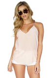 Rory Beca Women's Paglen Racerback Silk Tank Top in Blush