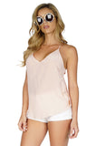 Rory Beca Women's Paglen Racerback Silk Tank Top in Blush side