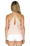 Rory Beca Women's Paglen Racerback Silk Tank Top in Blush back