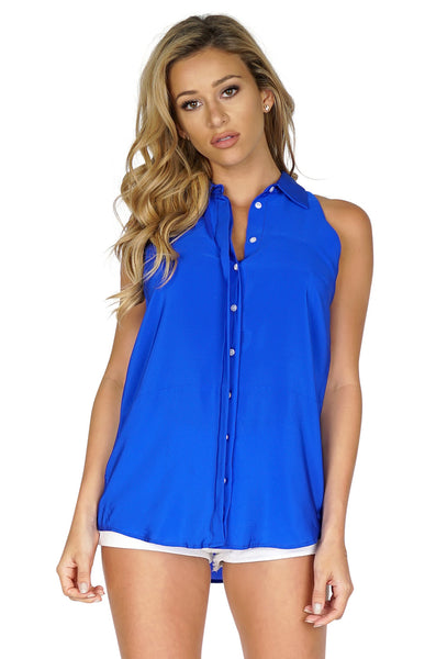 Amanda Uprichard Women's Racerback Button Up Sleeveless Blouse front