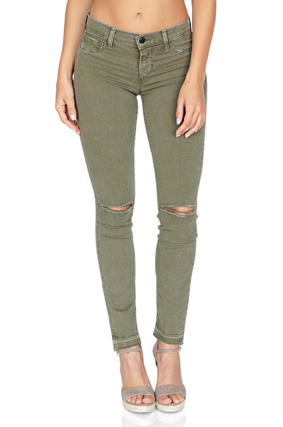 J Brand Women's Mid Rise Skinny Distressed Pants in Jungle Green Denim front