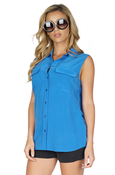 Equipment Women's Sleeveless Tank Top Button Up Blouse in Blue side