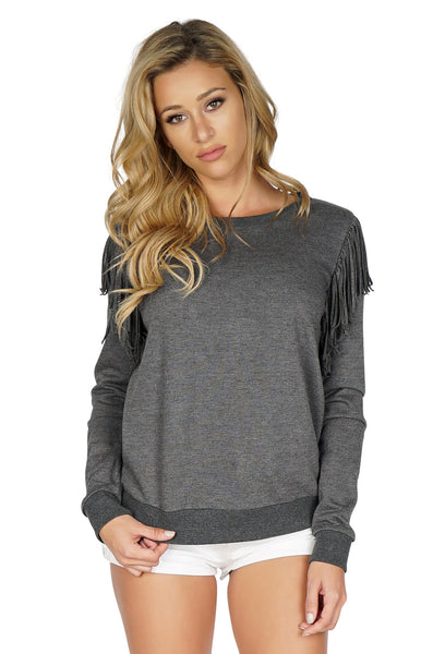 Rory Beca Women's Terri Fringe Sweater in Grey front