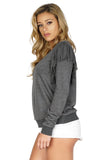 Rory Beca Women's Terri Fringe Sweater in Grey side