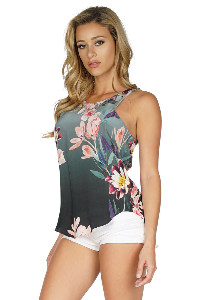 RORY BECA Keyhole Racerback Silk Tank Top front