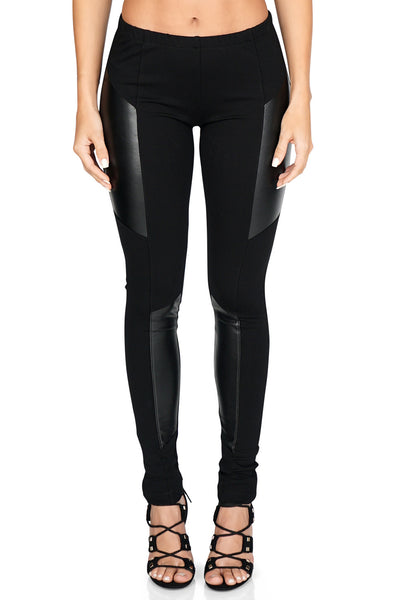 Amanda Uprichard Women's Celeste Insert Faux Leather Leggings front