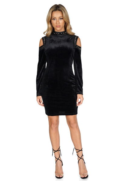 ROG Bianca Cold Shoulder Velvet Dress front