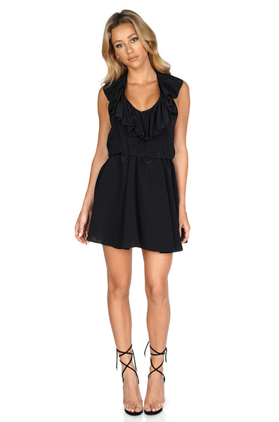 AMANDA UPRICHARD Ruffle halter dress front